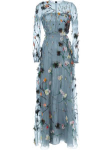 Valentino - Floral Applique Evening Dress - Blue