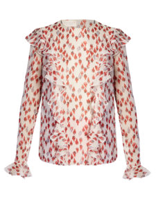 Giambattista Valli - Flower-Bud Print Silk-Georgette Top with Ruffles