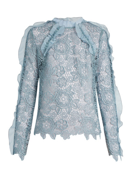 Self-Portrait - Cut-out Floral Lace Ruffled Top