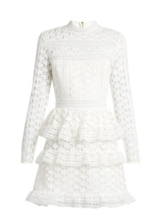 Self-Portrait - High-Neck Star-Lace Tiered Mini Dress
