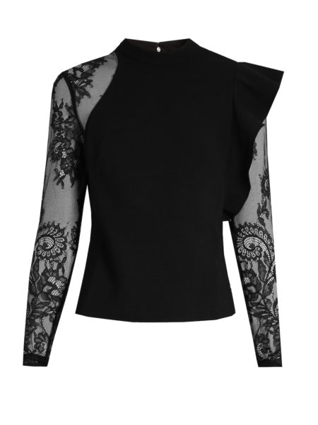 Self-Portrait - Ophelia Ruffled Lace-Sleeved Top - Black