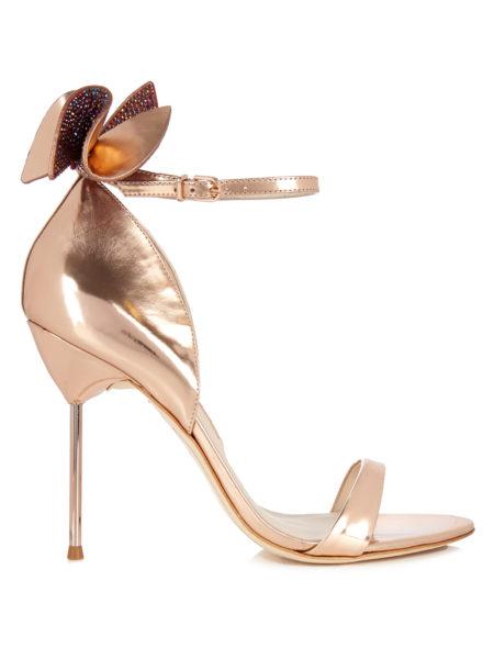 Sophia Webster - Maya Embellished-Bow Suede Sandals - Rose Gold