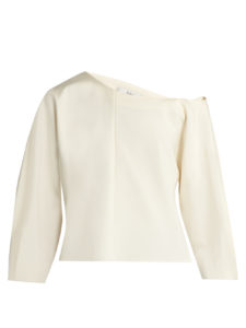 Tibi - Asymmetric Stretch-Faille Top - Ivory