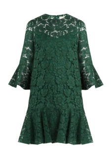 Valentino - Fluted Sleeve and Hem Lace Dress - Green