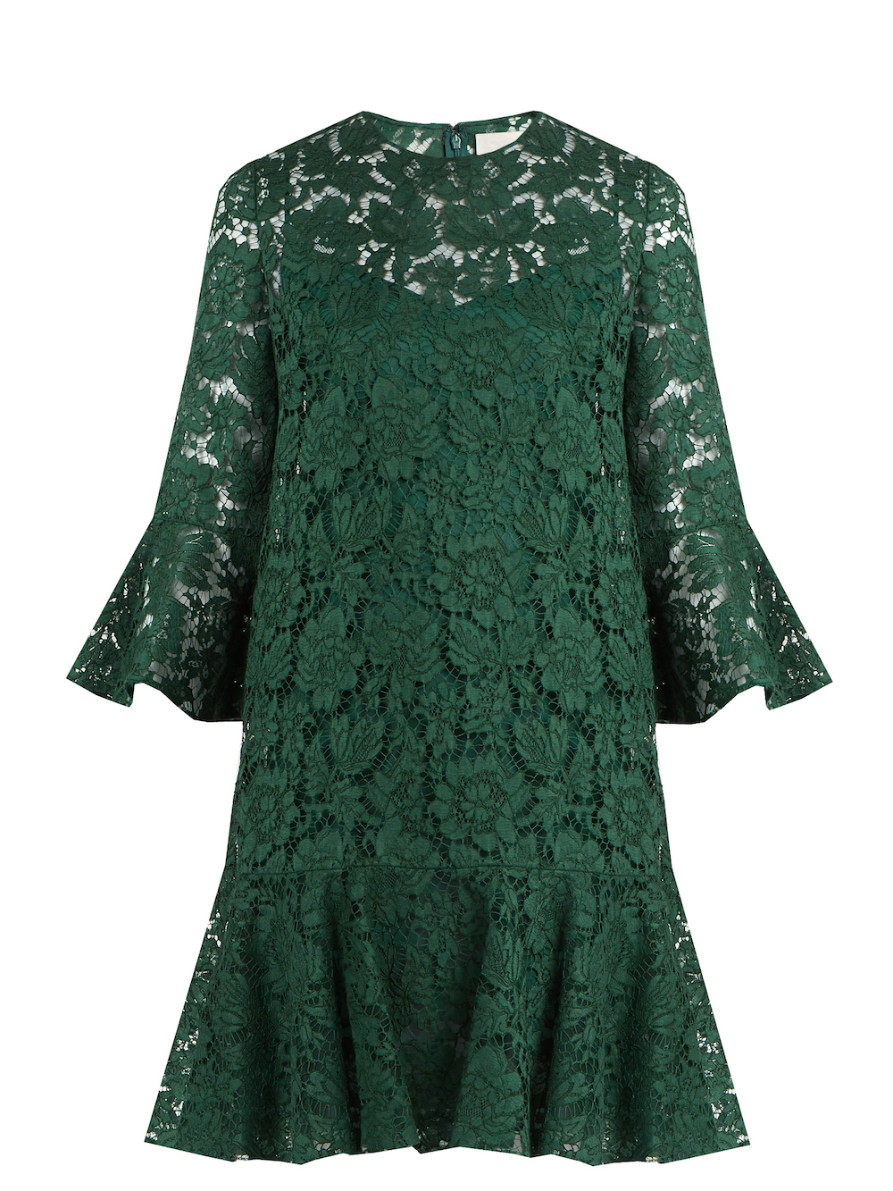 Valentino Fluted Sleeve And Hem Lace Dress Green