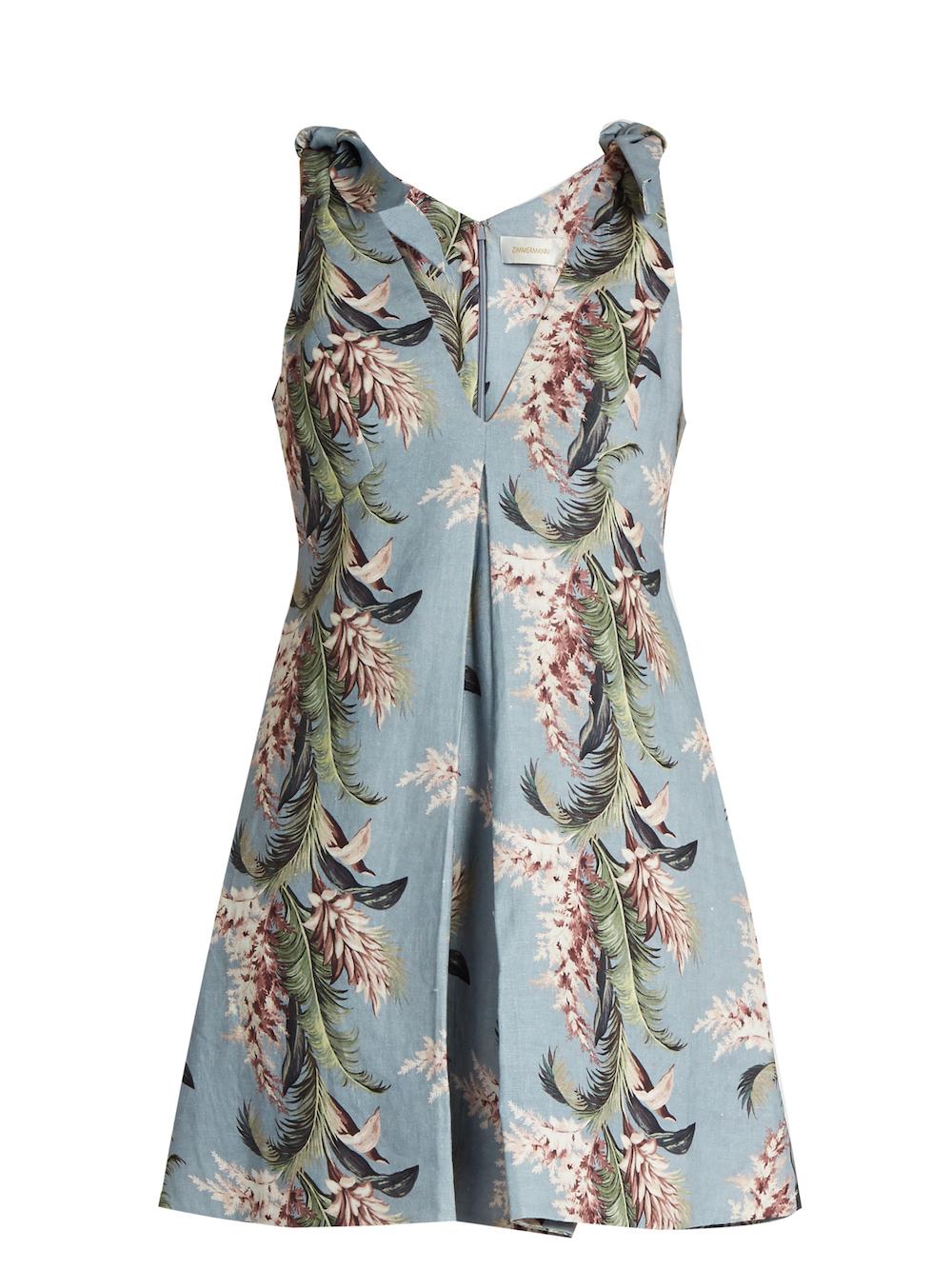 Zimmermann Winsome Floral Print Linen Trapeze Dress