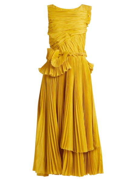 Rochas - Pleated Cotton and Silk-Blend Dress