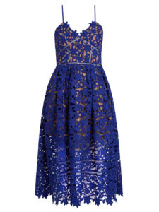 Self-Portrait - Azaelea Lace Midi Dress - Blue