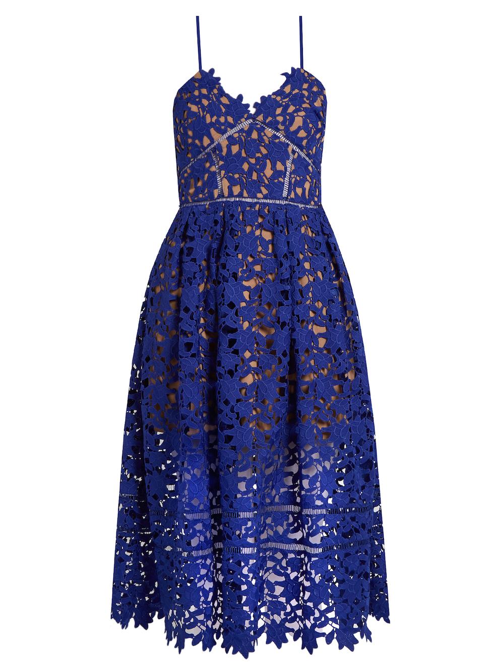 Self Portrait Azaelea Lace Midi Dress Blue
