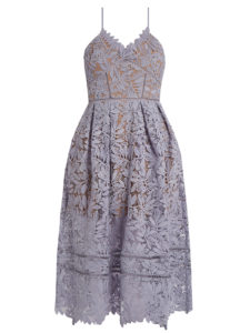 Self-Portrait - Laelia Lace Midi Dress - Lilac