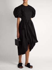 Simone Rocha - Puff-Sleeved Draped Cotton-Poplin Dress