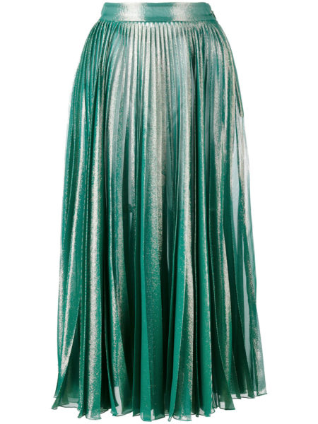 Gucci - Pleated Metallic Skirt - Green