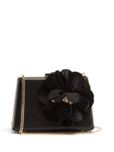 Lanvin - Le Petit Sac Flower-Appliqué Leather Box Clutch - Black