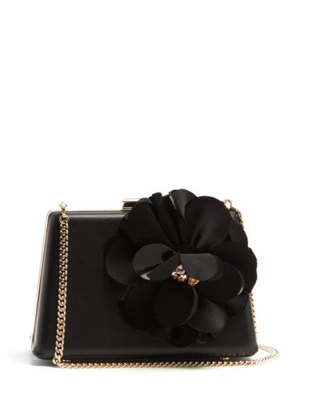 Lanvin - Le Petit Sac Flower-Appliqué Leather Box Clutch - Black