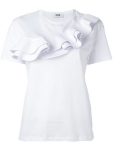 MSGM - Ruffle-Detailed T-Shirt - White