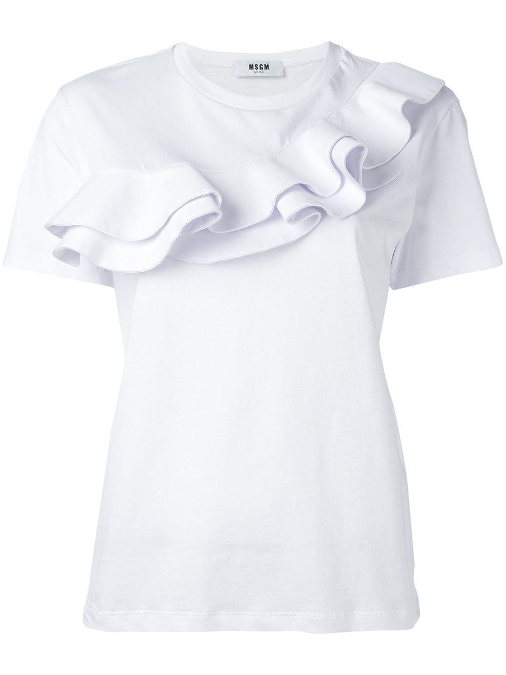 MSGM Ruffle Detailed T Shirt White FASHION STYLE FAN