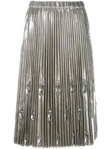 N21 - Embellished and Pleated Skirt - Silver