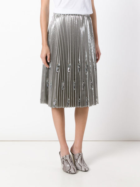 N21 - Embellished and Pleated Skirt - Silver2