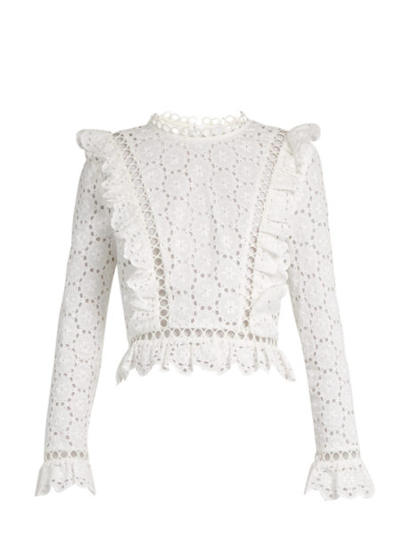Zimmermann - Divinity Wheel Broderie-Anglaise Top - White