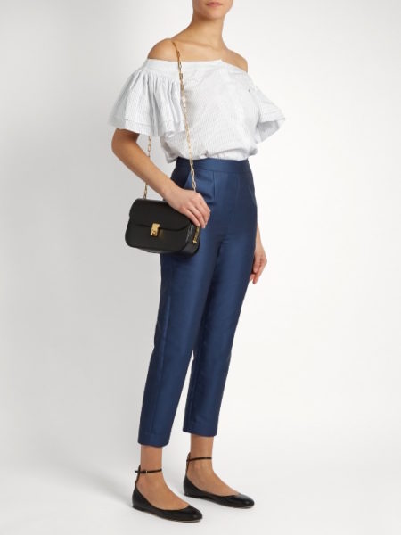Isa Arfen - Cotton and Silk-Blend Twill Cropped Pants