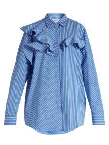 MSGM - Ruffle-Trimmed Striped Shirt