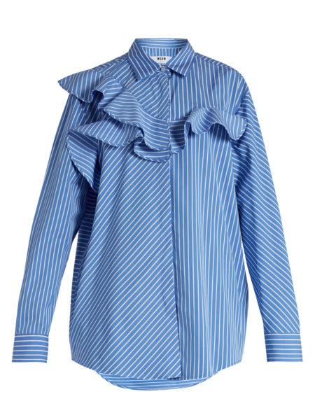 MSGM - Ruffle-Trimmed Striped Shirt