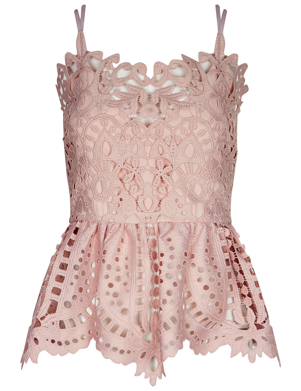 Perseverance London - Dusty Pink Guipere Lace Cami Top