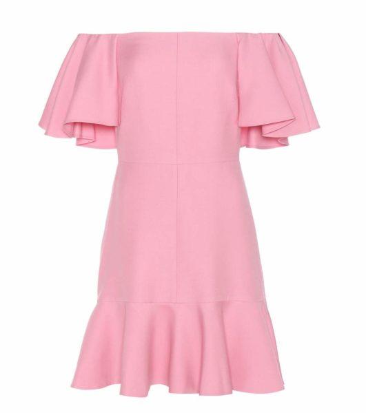 Valentino - Virgin Wool and Silk Crêpe Off-The-Shoulder Dress - Pink