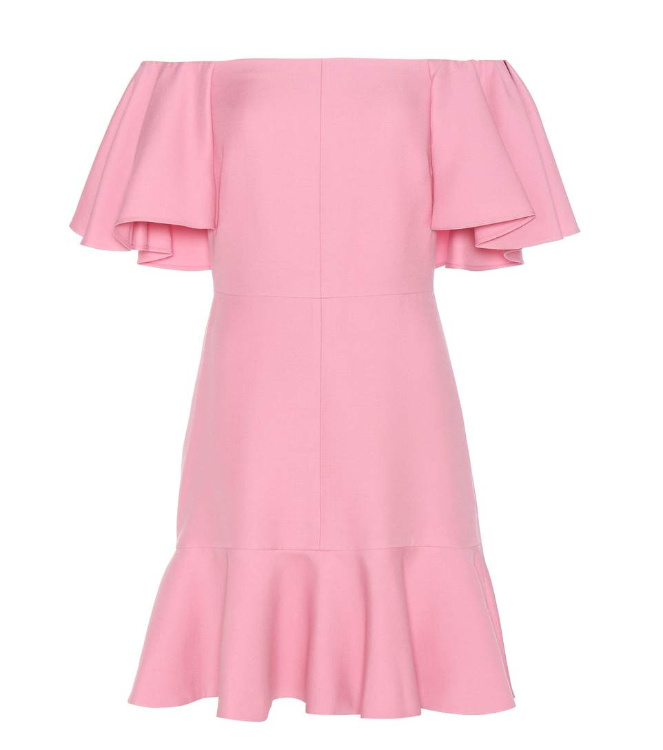 Valentino Virgin Wool And Silk Cr Pe Off The Shoulder Dress Pink Fashion Style Fan