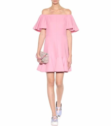 Valentino - Virgin Wool and Silk Crepe Off-The-Shoulder Dress - Pink2