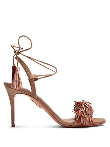 Aquazzura - Wild Thing Suede Fringed Sandals - Nude-Taupe
