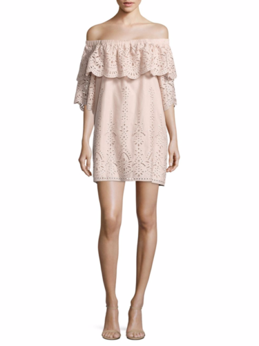 Parker - Cathy Ruffled Off-The-Shoulder Cotton Dress - Pink