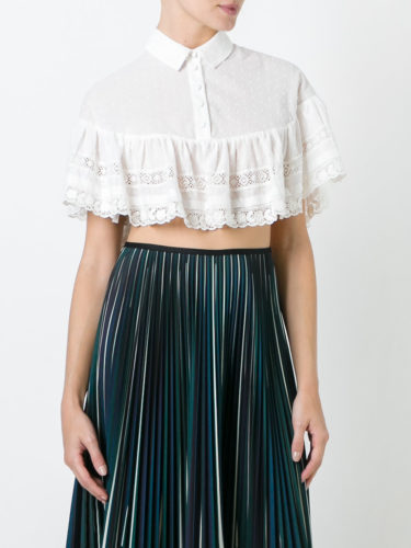Red Valentino - Embroidered Cropped Blouse