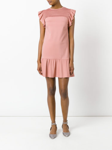 Red Valentino - Ruffled Sleeves Mini Dress - Pink 2