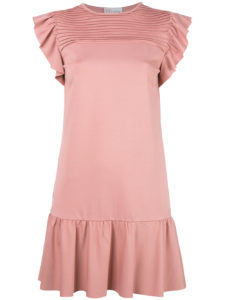 Red Valentino - Ruffled Sleeves Mini Dress - Pink