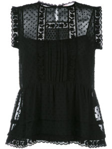 Red Valentino - Sleeveless Embroidered Blouse - Black