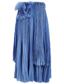 Rochas - Cornflower Blue Pleated Detail Skirt