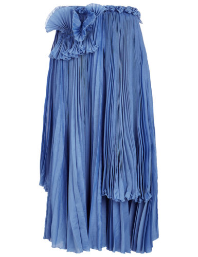 Rochas - Cornflower Blue Pleated Detail Skirt