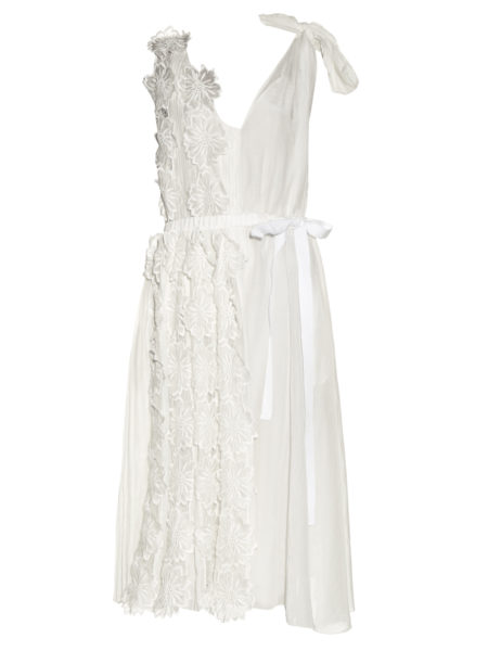 Rochas - Flower-Applique Sleeveless Midi Dress - White