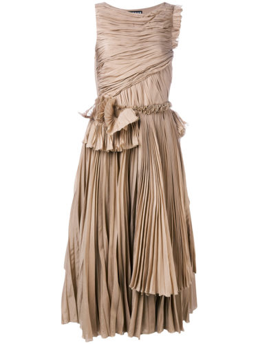 Rochas - Pleated Flared Dress - Nude