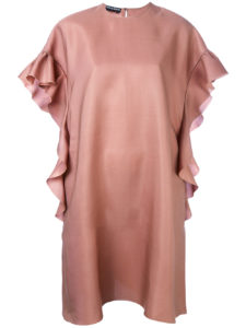 Rochas - Ruffle Sleeve Shift Dress - Peach Pink