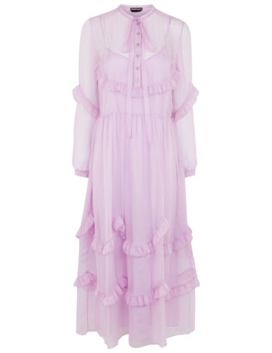 Rochas - Silk Pussybow Ruffle Tier Dress - Lilac