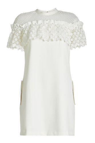 Self-Portrait - Crepe Dress with Lace - White