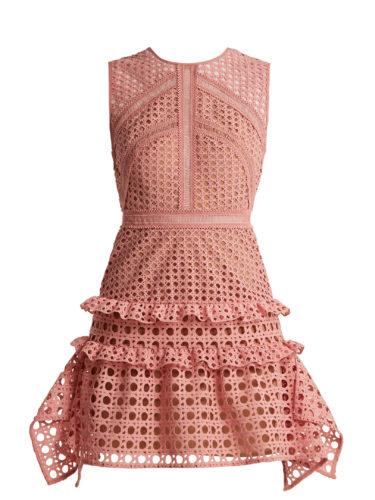 Self-Portrait - Crosshatch-Lace Sleeveless Dress - Pink