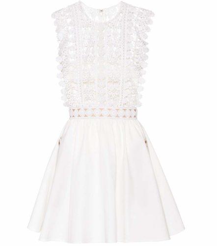 Self-Portrait - Floral Vine Cotton Mini Dress - White