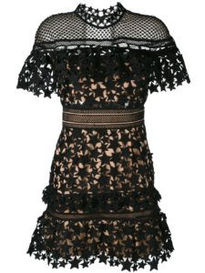 Self-Portrait - Lace-Embroidered Dress - Black