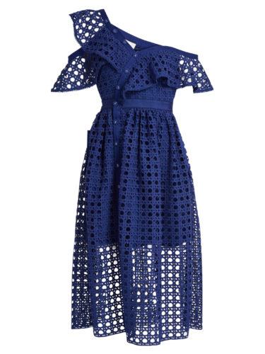 Self-Portrait - One-Shoulder Guipure-Lace Midi Dress - Blue