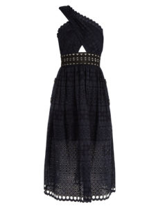 Self-Portrait - One-shoulder Guipure-Lace Midi Dress - Black