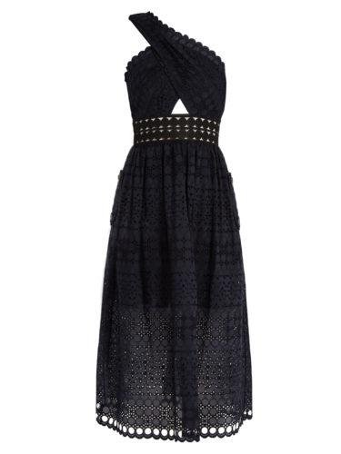 Self-Portrait - One-shoulder Guipure-Lace Midi Dress - Black