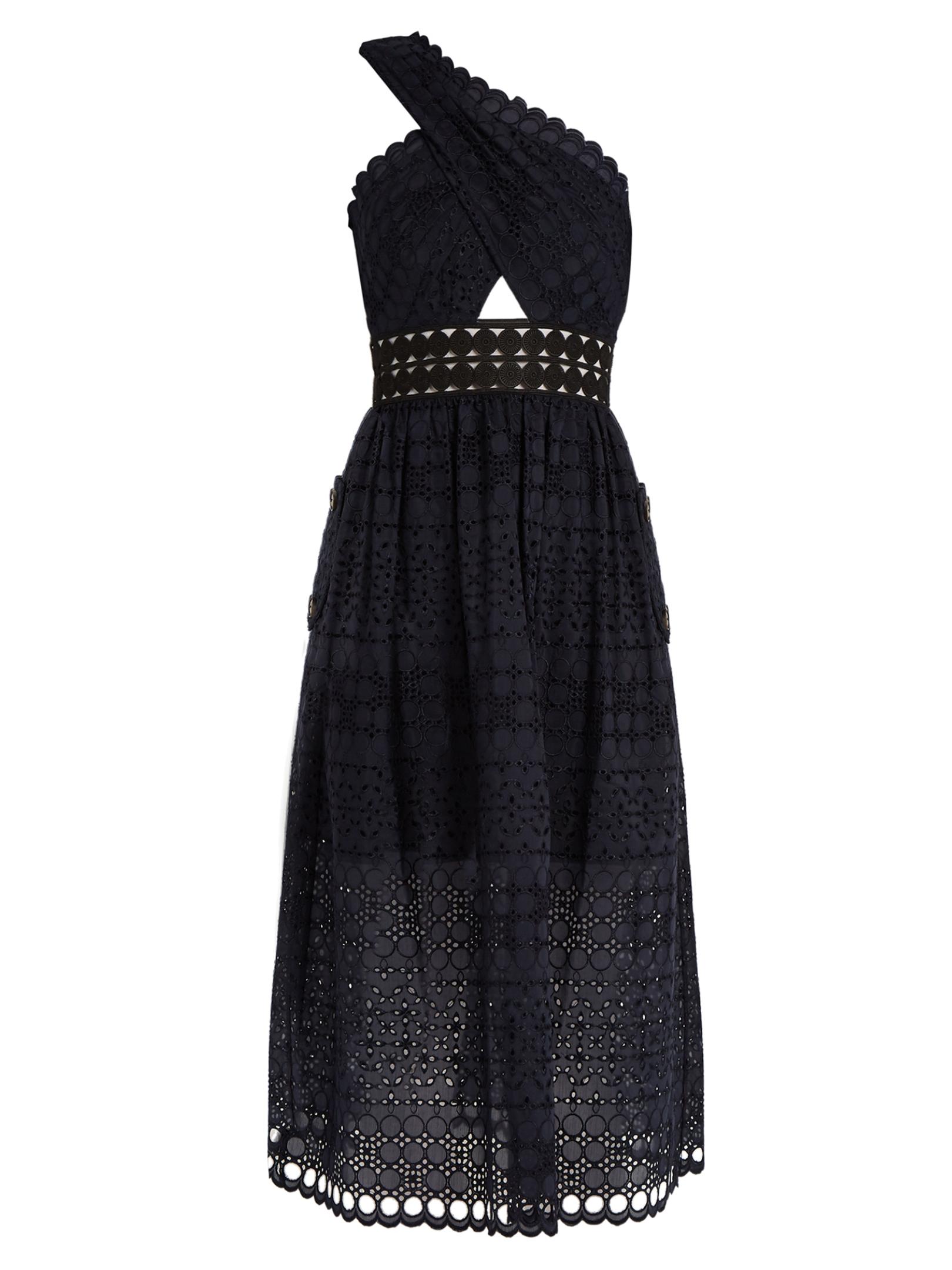 Self Portrait One Shoulder Guipure Lace Midi Dress Black Fashion Style Fan